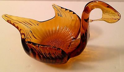 Vintage Amber Glass Swan Candy Dish
