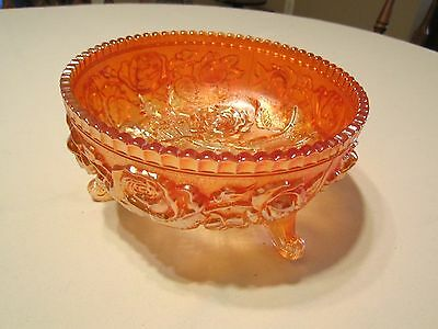 "Vintage Imperial Open Lustre Rose Footed 7-1/2"" Carnival Glass Bowl Marigold"