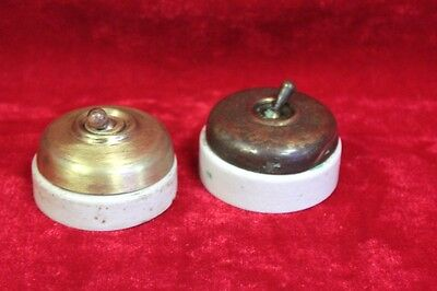 2 Pc. Old Vintage Brass Electric Switch Vitreous Brand Made in England  PM-52
