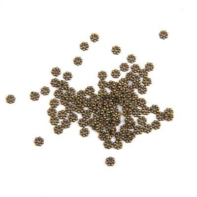 100 Vintage Antique Bronze Snowflake Flower Spacer beads Jewelry Craft 4mm