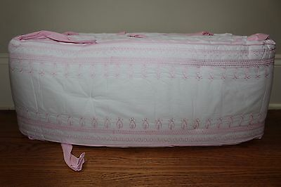 New Pottery Barn Kids Embroidered crib bumper nursery pink