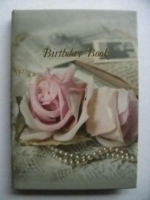 Birthday Book Note Organiser Roses & Pearls New Birthstone Info Small Purse Size