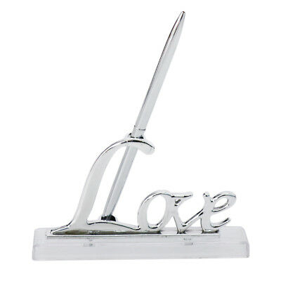 Lovely Silver Guest Book Signing Pen w/ Sign Holder Wedding Table Decor