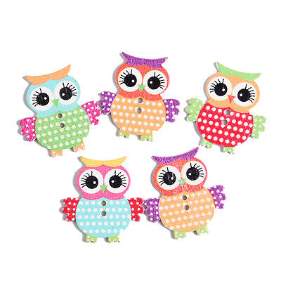 New Owl Shape Pattern Wooden Buttons Fit Sewing Scrapbook DIY Making 50PCS Mixed