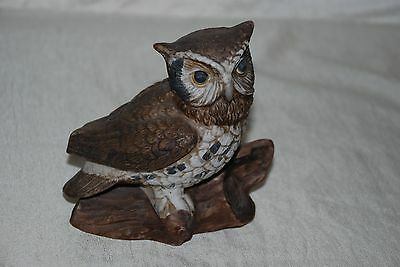 Vintage Homco Taiwan #1114 Brown Horned Owl Figurine Statue Bisque Porcelain 5""