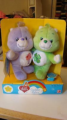 "CARE BEARS Cuddle Pairs GOOD LUCK & SHARE BEAR 7"" Plush Set NEW Play Along 2003"