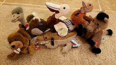 Lot Of 6 Coca-Cola Bean Bag Plush Animals 1998