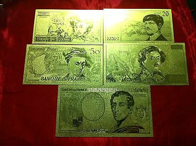 5 Banknotes France Gold Rare  French Album 24Kt 99.9% Francs Bank Note+Coa