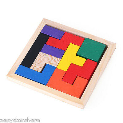 10Pcs Kids Colorful Wooden Puzzle Brain Teaser Educational Learning Toy Gift