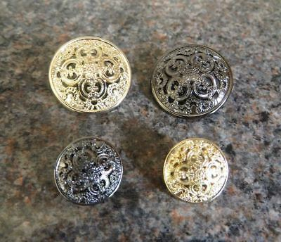 Fabulous metal buttons, intricate design, gold or silver, 23mm or 15mm, 8 pcs