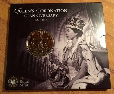 2013 ROYAL MINT QUEENS CORONATION 60th ANNIVERSARY £5 FIVE POUND COIN PACK