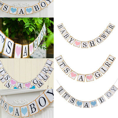 Its A Boy Girl Paper Baby Shower Banner Garlands Birthday Party Decoration new
