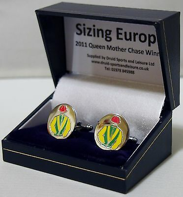 Sizing Europe cufflinks - in his racing colours