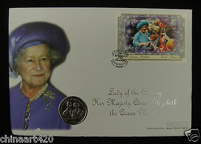 Isle Of Man Crown 1999 & Stamp 1st Day Cover 2000, Queen Mother