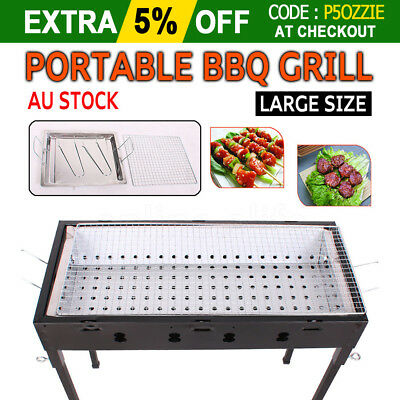 Portable Outdoor Iron BBQ Barbecue Grill Sets Charcoal Picnic Camping Large Size