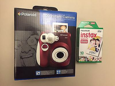 Polaroid 300 Instant Camera with 10 film sheets - Red
