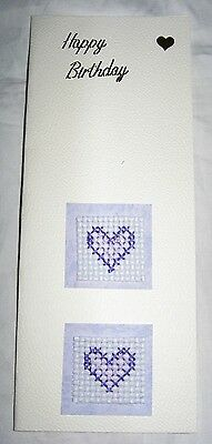 Birthday Card Completed Cross Stitch Hearts