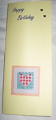 Birthday Card Completed Cross Stitch Heart