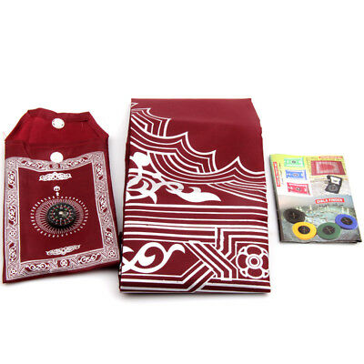 Portable  Waterproof Grand Muslim Prayer Rug Mat Blanket with Compass in Pouch
