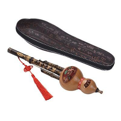 Handmade Black Bamboo Hulusi Gourd Flute Ethnic Key of C with Case R6Q0