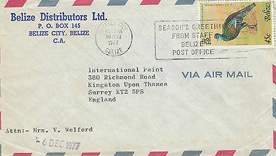 C 1230 Belize 1977  air cover UK; 45c rate; solo Turkey stamp usage