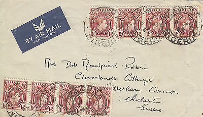 C 1510 Nigeria Kaduna 1947 air cover UK; 8 stamps; 1 shilling rate