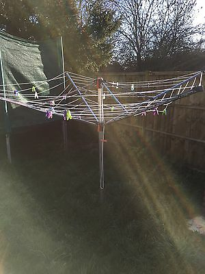 Heavy Duty 4 Arm Rotary Garden Washing Line, Airer With Hoist