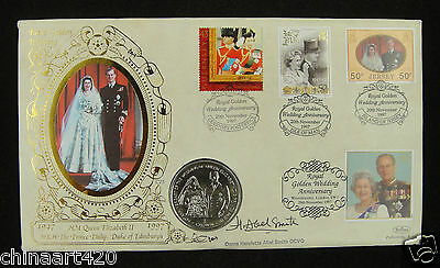 Isle Of Man Crown & Stamp First Day Cover 1997,50th Wedding Anniversary of Queen