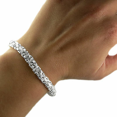 Sterling Silver Ladies 7.5 inch Byzantine Bracelet- Excellent value