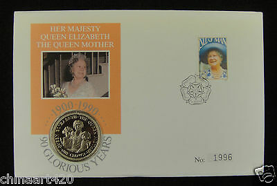 Isle Of Man Crown & Stamp First Day Cover 1990, Queen Mother 90 Glorious Years