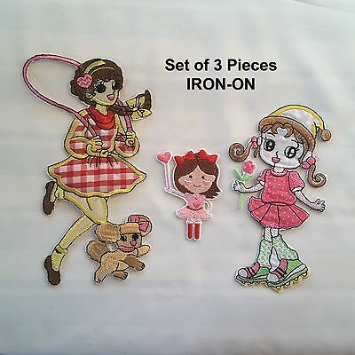 Set of 3 Girls Cartoon Character Embroidery Iron On Dress Applique Patch