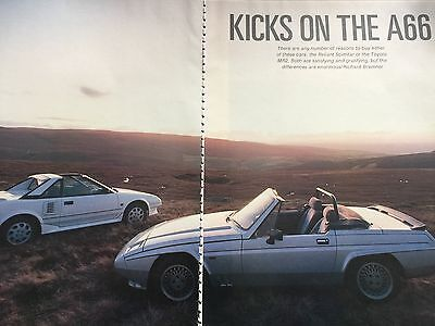 RELIANT SCIMITAR v TOYOTA MR2 # 6 PAGE COMPARISON TEST FROM 1987