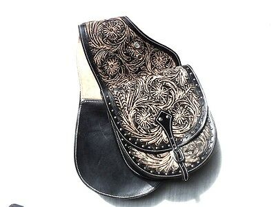 Western Tack Trail Cowboy Horse Or Motorcycle Saddle Bag Hand Tooled Leather