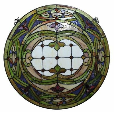"LAST ONE THIS PRICE Victorian Hand-crafted Stained Glass 24"" Round Window Panel"