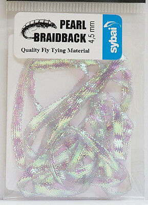 Pearl Braidback SYBAI 1 Mtr. x 4,5mm Shrimps Nymphen Wing Cases ICE PEARL