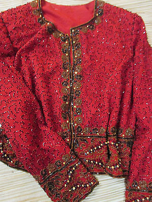 BEADED VINTAGE 90s RUBY RED SILK CARDIGAN JACKET sz M/L