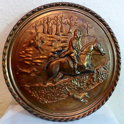 "Vintage Brass Wall Plaque 'FOX HUNTING' Embossed  8.25"" round (BRS)"