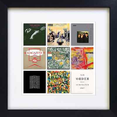 Great Bands 26x26 inch mounted and framed Print oasis smiths stone roses james