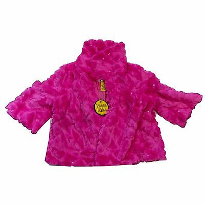 NWT Peace of Cake Girls Pink Dress Jacket Faux Fur Small 4-6X
