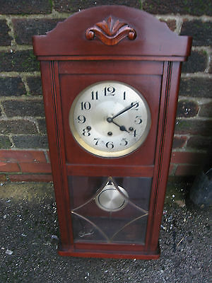 Westminster Chiming Wall Clock 8 Day Striking on 8 Rods C1930s Working