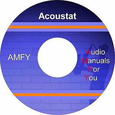 ACOUSTAT REPAIR SERVICE USER manuals, 1 DVD, shipped FREE worldwide