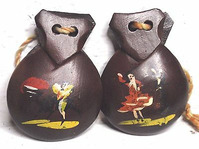 Vintage Spanish Wood Castanets Hand Carved Bullfight fiesta Dancers Hand Painted