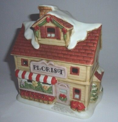 Homco Christmas Village Lighted Porcelain Bisque Florist 5603