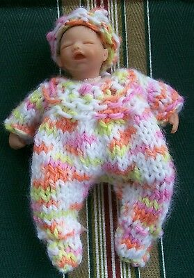"Doll clothes footie hand knitted for baby 4"" 5"" fit Heavenly by Euro Style Knits"