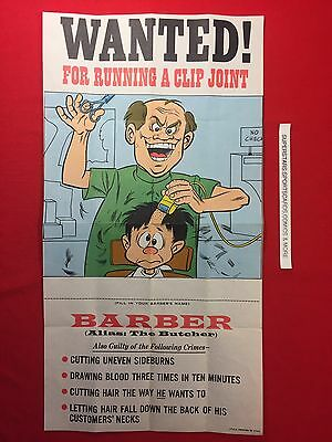 1975 Topps WACKY PACKAGE POSTER BARBER