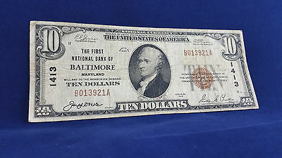 1929 $ 10 National Currency - Type-1 Baltimore , Maryland !