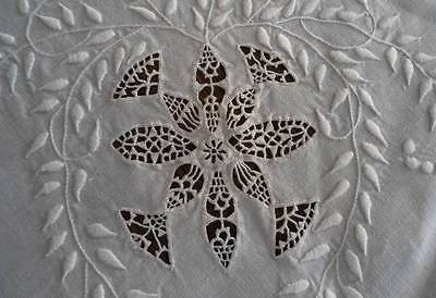 Antique Heirloom Linen Bed Sheet Pillowcase Set Needle Lace Embroidery Monogram