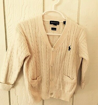 Ralph Lauren Boys Size 2T Solid Ivory White Cable Cardigan Sweater Winter