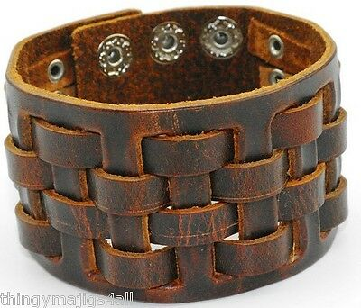 Genuine Brown Leather Weave Wristband Wrist Strap Bracelet Cuff Mens Bangle Band