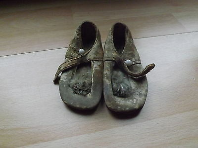 Pair Of Childrens 1920s Natural Form Leather Soled Shoes